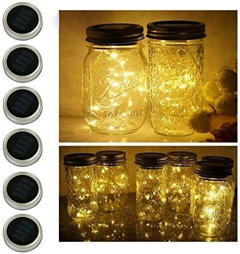 6 Pack Mason Jar Lights 20 LED Solar Warm White Fairy String Lights Lids Insert for Garden Deck product image