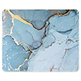 Auhoahsil Mouse Pad with Stitched Edge Premium-Textured Mouse Mat Waterproof Non-Slip Rubber Base Customized Rectangle Mousepad for Laptop Computer PC Gaming Office 11.8 x 9.85 inch, Blue Marble