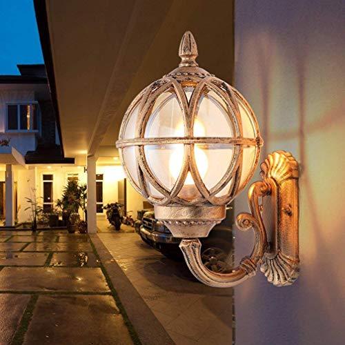 DEJ vintage industriële buitenverlichting creatieve metaalheldere glazen buitenlamp wandlamp klassieke decoratieve messing nachtlamp voor landhuis tuin verlichte trappenhuis-weg E27 40W Ip44