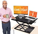 "Stand Steady X-Elite Pro Standing Desk Converter | Instantly Convert Any Desk into a Sit to Stand Up Desk | Easy Lift Height Adjustable Standing Desk | No Assembly Required! (28"" x 20"" / Black)"