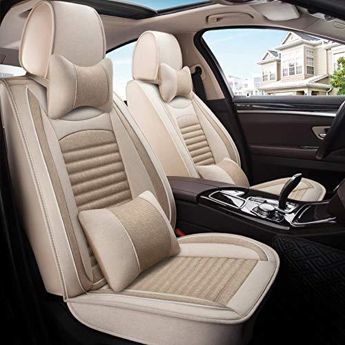 DIVAND Cubiertas del asiento de coche del sistema completo, delantero y trasero Cubiertas juego de ropa de Split Volver universal Estaciones Pad,Beige