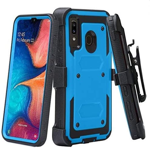 Case for Alcatel 3V 2019 Case, Built-in [Screen Protector] Heavy Duty Holster Cover [Belt Clip][Kickstand] - Blue