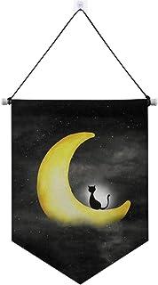 Exnundod Moon Cat Door Sign Hanger Night Sky Wall Art Plaque Black Printed Hanging Poster Banner Flag Decor for Home,Livin...