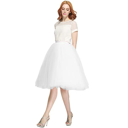 8c987d4b534 Nemobridal Women s 7 Layer Short Elastic Waistband Tutu Princess Tulle Midi  Skirt L XL White