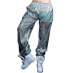 Anlydia Night Club Metallic Hologram Shiny Pants Party Trousers