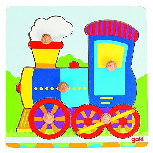 Goki-57551 Puzzles de maderaPuzzles de maderaGOKIEncaje Locomotora, Multicolor (Gollnest & Kiesel 57551.0)