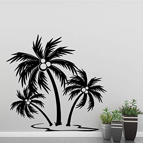 LSMYE Familie Kokosnussbaum Wandaufkleber für Zimmer Vinyl Wandkunst Aufkleber Palmenaufkleber Wandbild Gold L 43cm x 44cm