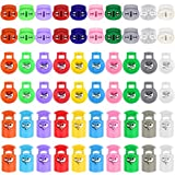 60pcs Plastic Cord Locks 3 Style Toggle Stopper Plastic Spring Fastener for Drawstring Shoelaces Clothing Backpack Bags (16 Colors-3 Shape)