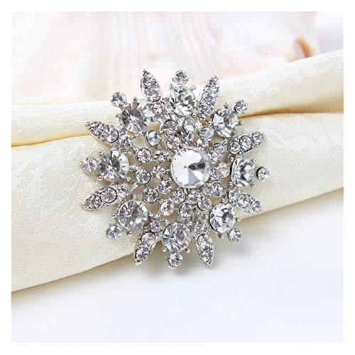 Shop-PEJ Servilleteros, 6 piezas/lote de anillos de servilleta con diamantes de imitación para decoración de fiesta de boda, decoración de mesa (color: como se muestra)