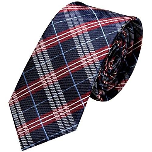 GASSANI Schmale dünne 6cm Krawatte kariert | Karo Herrenkrawatte zum Sakko Anzug | Schlips Binder mit Blaue Rote Karos