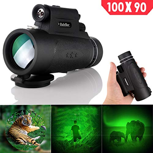 Monocular Telescope, 50X60 High Power BAK4 Prism Low Night Vision Scope, Waterproof HD Telescope with Smartphone Adapter & Tripod & Remote Shutter for Bird Watching Hunting Best Gifts for Men