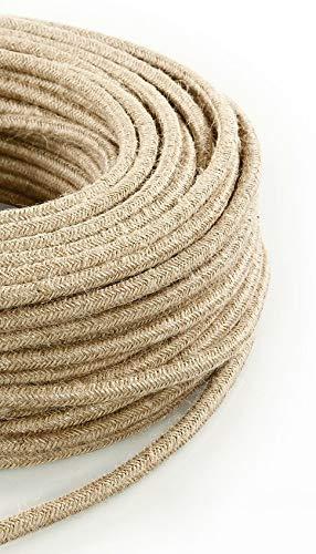 Textilkabel für Lampe, Stoffkabel 3-adrig (3x0,75mm²) - Jute. Made in Italy (5 Meter)