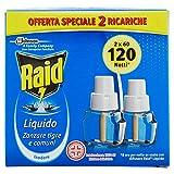 Raid Liquido Ricarica, Antizanzare Elettrico Inodore, Confezione da 2 ricariche x 32 ml, 120 Notti