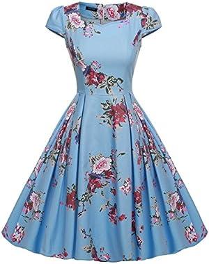 ACEVOG Women's 1950s Cap Sleeve Swing Vintage Floral Party Dresses Multi Colored