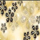 wandtapete 3D benutzerdefinierte Foto Tapetenaufkleber Diamantschmuck geprägte Blumen Europäische 3D-TV Hintergrund Tapete für die Wand-Über 350 * 245cm 3 Streifen