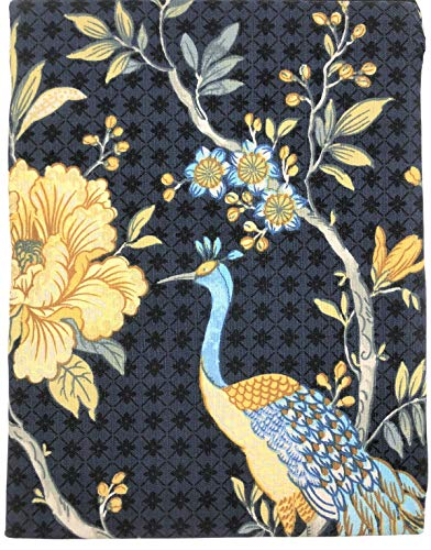 Envogue Home Aviary Navy Blue Peacock & Flowers Cotton Fabric Shower Curtain, Lovely Elegant Pattern for Sophisticated Bathroom Decor Bathtub Shower Curtain in Master, Guest Bathroom Chic Home Decor