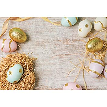 YongFoto 12x10ft Easter Egg Backdrop Colorful Painted Eggs Gold Glitter Eggs Straws White Rustic Wood Board Happy Easter Photography Background Easter Egg Hunt Game Theme Banner Party Decor Supplies
