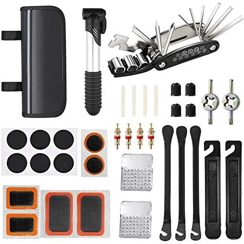 WEICHUAN Werkzeugsets für Fahrräder, Alles in 1 Reifenheber Fahrradflicken usw, Fahrrad-Multifunktionswerkzeug mit Tasche, Fahrrad Reparatur Werkzeug Set