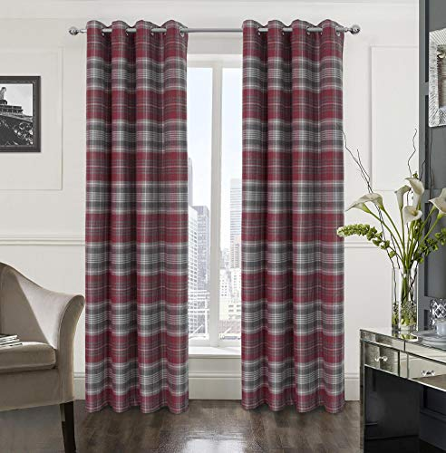 Alexandra Cole Plaid Textured Grommet Curtain Set of Two Panels for Bedroom Living Room Grey and Red 54X84 Inch