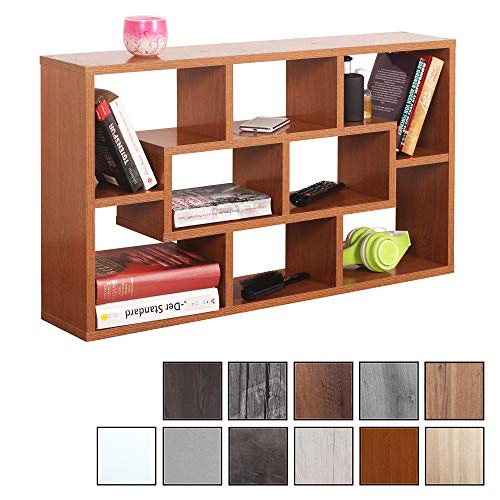 RICOO WM050-ER, Wandregal, 85x48x16 cm, Holz Eiche Rustikal Braun, Schmal, Mini, Hänge-Regal, Wand Bücher-Regal, Schwebe-Regal, Stand-Regal, Eck-Regal