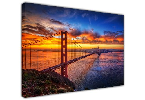 CANVAS IT UP Groß Kunstdruck auf Leinwand Golden Gate Bridge in San Francisco Stadtbild Art Wand landscapenew Alter Art – Foto Print Bild tolle Deko für Zuhause