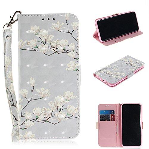 Nadoli Galaxy S8 Lederhülle,3D Standfunktion Pu Leder Flip Brieftasche Handyhülle Weiß Blumen Wallet Tasche Etui für Samsung Galaxy S8,Weiß Blumen