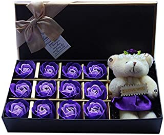 Rosesoap 2015 Hot Sales,12Pcs/Box Romantic Rose Soap Flower With Little Bear, Great For Valentine's Day Gifts/ Wedding Gift/birthday Gifts (purple2)
