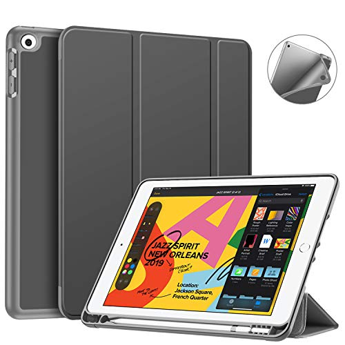 Fintie SlimShell Case for New iPad 7th Generation 10.2 Inch 2019 with Built-in Pencil Holder - Smart Stand Soft TPU Back Cover, Auto Wake/Sleep for iPad 10.2' Tablet, Space Gray