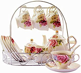 ufengke 15 Piece European Bone China Coffee cup Set, Ceramic Porcelain Tea Cup Set With Metal Holder, Tea Gift Sets, Red And Purple Flower Painting