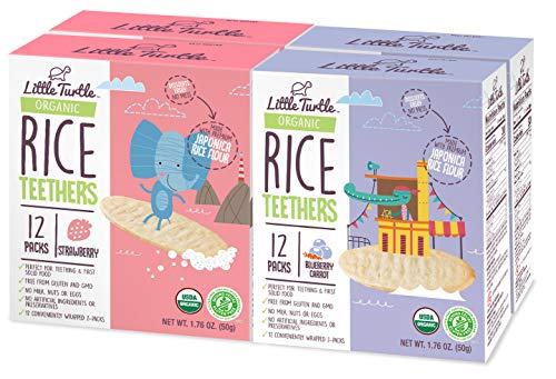 Little Turtle Rice Teethers Combo Pack, Organic Strawberry & Blueberry & Carrot Flavor, 12 wrapped 2 Pack, 4 Count