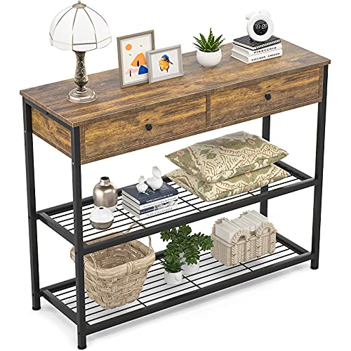 Ecoprsio Console Table with Drawers Industrial Sofa Table Entryway Table Narrow Long with Storage Shelves for Entryway, Front Hall, Hallway, Sofa, Couch, Living Room, Coffee Bar, Kitchen, 32 Inch