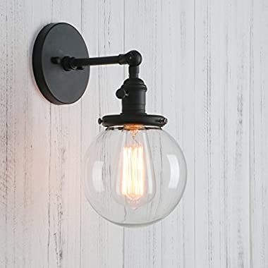 Permo Vintage Industrial Wall Sconce Lighting Fixture with Mini 5.9  Round Clear Glass Globe Hand Blown Shade (Black)