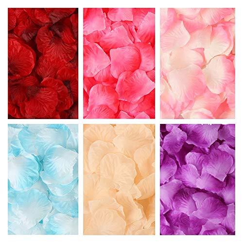 Künstliche Rosenblätter, sechs Farben, ca. 3000 Stück, für Geburtstag, Hochzeit, Hochzeitsbett, Valentinstag, Heiratsantragsszene, romantische Atmosphäre