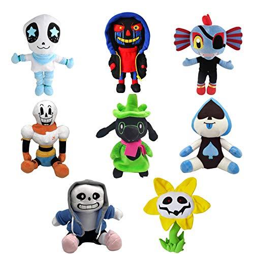 Zpong 8 Piezas Undertale Plush Toy Doll Set 20-30Cm, Undertale Sans Papyrus Sunflower Temmie Peluches De Peluche para Niños Regalos para Niños