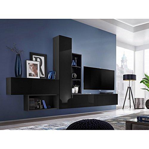 Paris Prix - Meuble TV Mural Design blox Iv 315cm Noir