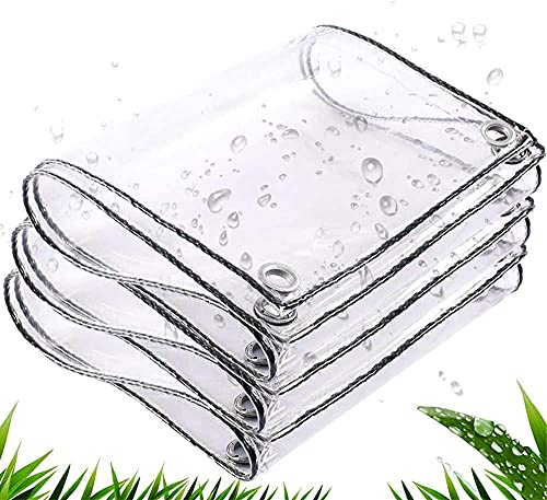 DRTUSDT Lona Transparente Lona de plástico PVC Impermeable con Ojales Cubierta de Invernadero Cubierta de Hoja de Dosel de Plantas, 0.35 mm-2x2m
