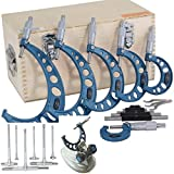 Anytime Tools 0-6' Outside Micrometer Machinist Tool Set with Carbide Tips + 6 pc 5/16' - 6' Precision Telescopic T Bore Gauge Set + Micrometer Stand