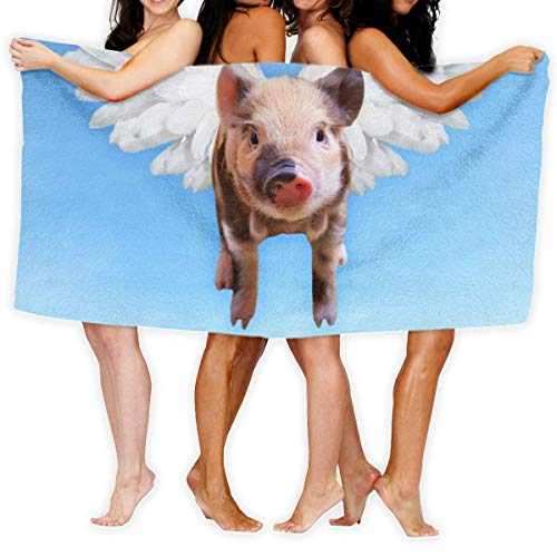 LOPEZ KENT Serviettes de Plage pour Femmes Hommes Blanket Sky Cute Flying Pork Wing Pigs Bath Sheets Quick Dry 100% Polyester Pool Large Towel Cover for Yoga Mat Tent Floor 31.5