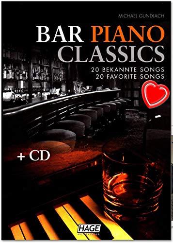 Bar Piano Classics - 20 bekannte Songs - leicht bis mittelschwer arrangiert - Notenbuch von Michael Gundlach mit CD und bunter herzförmiger Notenklammer - EH3749 9783866261297