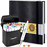 "Ohuhu 40 Colors Alcohol Art Markers (Fine & Chisel, Bonus 1 Colorless Blender) + 8.3"" ×8.3"" Marker Pads Art Sketchbook, 120LB/200GSM Heavy Smooth Drawing Papers, 78 Sheets/156 Pages"