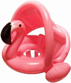 mciskin Flamenco bebé Flotador de Seguridad bebé niños Hinchable natación Agua Flotador Anillo de natación con toldo Ajustable Parasol, Parasol, protección UV (Rosada)