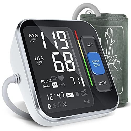 Tensiómetro de Brazo Digital - Monitor de Presión Arterial Automatico con Manguito Presión del Brazo Superior 8.7'-15.7' , Pantalla de Retroiluminación & Detección de HR con Estuche de Transporte