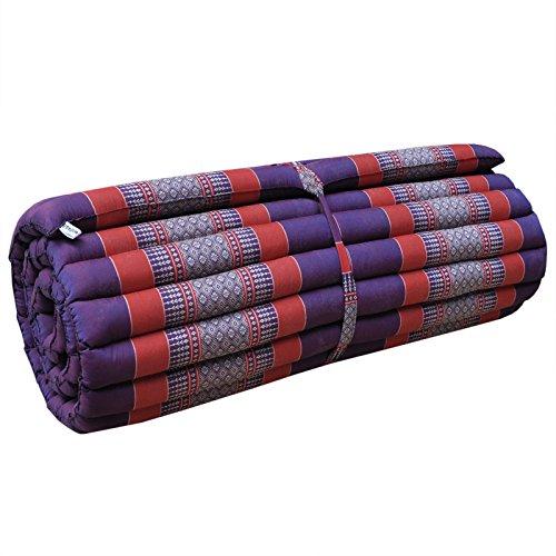Wifash - Colchón Thai L (75 cm de ancho, alfombra, relajación, descanso, gimnasio, meditación, yoga, playa, piscina, fabricado en Tailandia, morado/rojo (81514)