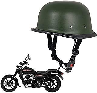 Autofier German Retro Style Matty Green Half Helmet World War Inspired Free Size For Harley Davidson Night Rod Special