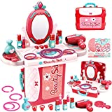 Buyger 3 en 1 Tocador Juguetes Niña Maletin Maquillaje Set Belleza Peluqueria Joyería Secador de Pelo Espejo Perfumes Juegos de rol para Niños Niñas 3 Años