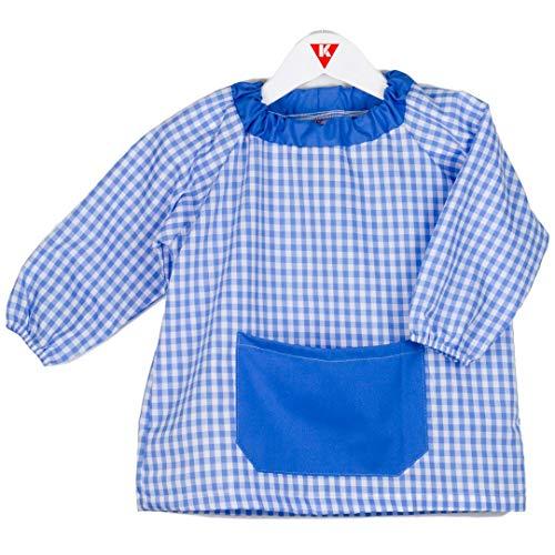 KLOTTZ - Babi poncho sin botones guardería. Bata escolar cómoda de vestir perfecta para comedores y colegios. bebé-niños color: CELESTE talla: 5