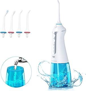 Irrigador Dental Profesional, 300ml Irrigador Bucal Portátil USB Recargable Impermeable IPX7 y 3 Modos con 4 Boquillas Multifuncionales para Familia y Viajar