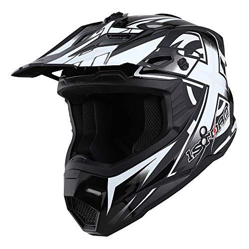 1Storm Adult Motocross Helmet BMX MX ATV Dirt Bike Helmet Racing Style HF801; Sonic White Size M (55-56 cm 21.7/22.0 Inch)