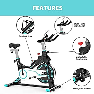 Afully Indoor Exercise Bikes Stationary, Indoor Cycling Belt Drive with Adjustable Resistance, LCD Monitor&Phone Holder Quiet for Home Cardio Workout