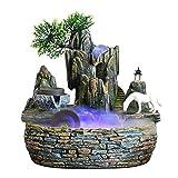 Decoración de la Fuente de Escritorio Mini Fuente de la cascada con color Cambiando Iluminación Meditación Cascada Piedra de piedra y regalos de caballo blanco para la decoración del hogar Mengheyuan